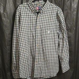 Chaps 100% cotton green and white plaid shirt L